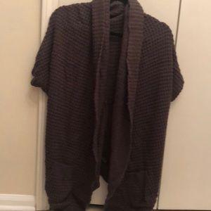 Dark gray stitched short sleeve sweater